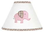 Pink and Taupe Mod Elephant Lamp Shade by Sweet Jojo Designs