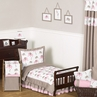 Pink and Taupe Mod Elephant Toddler Bedding - 5pc Set by Sweet Jojo Designs
