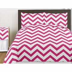 Hot Pink and White Chevron 3pc Childrens and Teen Zig Zag Full / Queen Bedding Set Collection