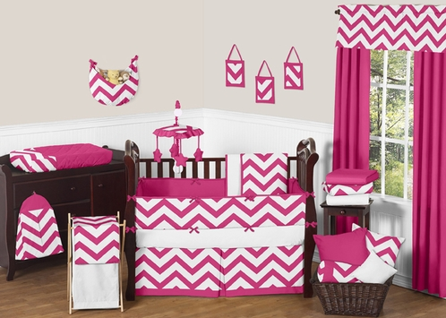 Hot Pink and White Chevron ZigZag Baby Bedding - 9pc Crib Set by Sweet Jojo Designs - Click to enlarge