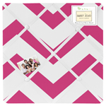 Hot Pink and White Chevron Zig Zag Fabric Memory/Memo Photo Bulletin Board
