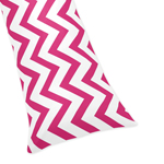 Hot Pink and White Chevron Zig Zag Full Length Double Zippered Body Pillow Case Cover