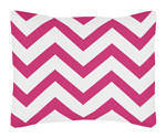 Standard Pillow Sham for Hot Pink and White Chevron Zig Zag Bedding by Sweet Jojo Designs
