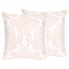 Pink and White Damask Decorative Accent Throw Pillows for Amelia Bedding by Sweet Jojo Designs - Set of 2