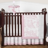 Pink and White French Toile Baby Bedding - 4pc Crib Set