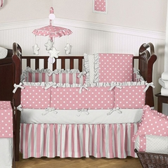 Pink and White Polka Dot Baby Bedding - 6 pc Crib Set