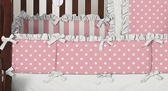 Pink and White Polka Dot Baby Crib Bumper Pad