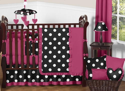Pink Black And White Hot Dot Baby Bedding By Sweet Jojo