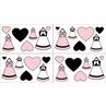 Pink, Black and White Princess Baby and Kids Wall Decal Stickers - Set of 4 Sheets