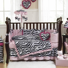 Pink, Black & White Funky Zebra Baby Bedding - 9 pc Crib Set