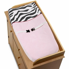 Pink, Black & White Funky Zebra Changing Pad Cover by Sweet Jojo Designs