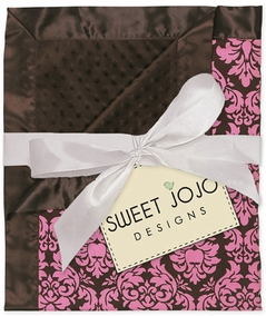 Pink & Brown Damask Print Minky Dot Chenille and Satin Baby Blanket by Sweet Jojo Designs