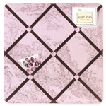 Pink Brown French Toile and Polka Dot Fabric Memory/Memo Photo Bulletin Board