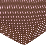 Pink Brown Toile Fitted Crib Sheet for Baby and Toddler Bedding Sets by Sweet Jojo Designs - Polka Dot Print