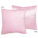 Pink Chenille and Satin Girls Decorative Accent Throw Pillow