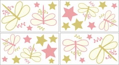 Pink Dragonfly Dreams Baby and Kids Wall Decal Stickers - Set of 4 Sheets