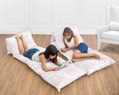 Pink French Toile Collection Kids Teen Floor Pillow Case Lounger Cushion Cover by Sweet Jojo Designs