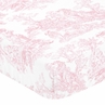 Pink French Toile Fitted Crib Sheet for Baby and Toddler Bedding Sets by Sweet Jojo Designs - Toile Print