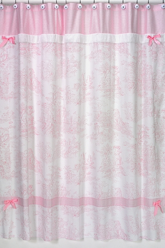 Pink French Toile Kids Bathroom Fabric Bath Shower Curtain - Click to enlarge