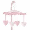 Pink French Toile Musical Crib Mobile