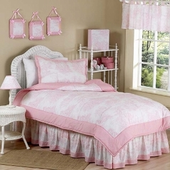 Pink French Toile Teen Bedding - 3pc Full / Queen Set