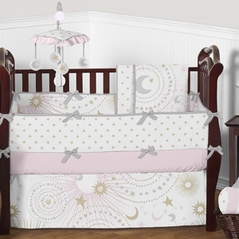 Pink Gold Grey Celestial Moon and Stars Baby Bedding - 9pc Girls Crib Set by Sweet Jojo Designs