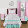 Pink, Gray and Turquoise Skylar 4pc Twin Girls Bedding Set  by Sweet Jojo Designs