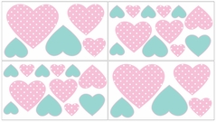 Pink, Gray and Turquoise Skylar Baby and Kids Wall Decal Stickers - Set of 4 Sheets
