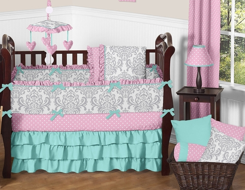 Pink Gray And Turquoise Skylar Baby Bedding 9pc Girls