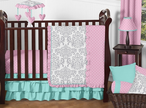 Pink, Gray and Turquoise Skylar Baby Bedding - 4pc Girls Crib Set by Sweet Jojo Designs - Click to enlarge