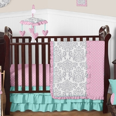 Pink, Gray and Turquoise Skylar Baby Bedding - 4pc Girls Crib Set by Sweet Jojo Designs