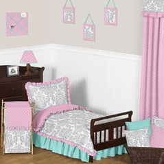 Pink Gray and Turquoise Skylar Toddler Bedding - 5pc Girls Set by Sweet Jojo Designs