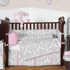 Pink, Gray and White Elizabeth Baby Bedding - 9pc Crib Set by Sweet Jojo Designs
