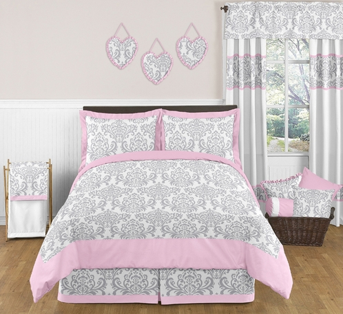 Pink Gray And White Elizabeth Childrens And Kids Bedding