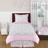 Pink, Gray and White Elizabeth Childrens and Kids Bedding - 4pc Twin Set by Sweet Jojo Designs