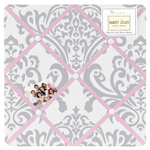 Pink, Gray and White Elizabeth Fabric Memory/Memo Photo Bulletin Board by Sweet Jojo Designs