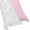Pink, Gray and White Elizabeth Full Length Double Zippered Body Pillow Case Cover by Sweet Jojo Designs
