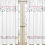 Pink, Gray and White Elizabeth Window Treatment Panels by Sweet Jojo Designs - Set of 2