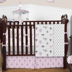 Pink & Gray Earth and Sky Baby Bedding - 9 pc Crib Set by Sweet Jojo Designs