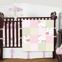 Pink Green White and Gold Shabby Chic Floral Patchwork Quilt Baby Bedding - 9pc Girls Crib Set by Sweet Jojo Designs