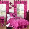 Pink Groovy Peace Sign Tie Dye Children's Bedding - 3 pc Full / Queen Set