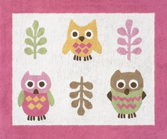 Pink Happy Owl Accent Floor Rug