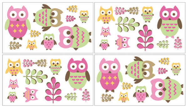 Pink Happy Owl Baby and Kids Wall Decal Stickers by Sweet...