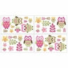 Pink Happy Owl Baby and Kids Wall Decal Stickers by Sweet Jojo Designs - Set of 4 Sheets