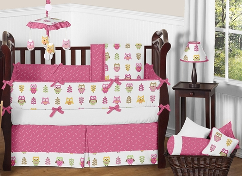 Pink Happy Owl Baby Bedding - 9 pc Crib Set by Sweet Jojo Designs - Click to enlarge