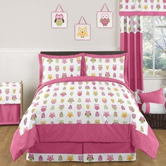 Pink Happy Owl Childrens Bedding - 3 pc Full / Queen Set by Sweet Jojo Designs