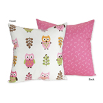 Pink Happy Owl Decorative Accent Throw Pillow by Sweet Jojo Designs