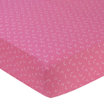 Pink Happy Owl Fitted Crib Sheet for Baby/Toddler Bedding by Sweet Jojo Designs - Tonal Mini Leaf Print