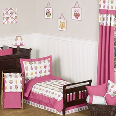 Pink Happy Owl Toddler Bedding - 5 pc Set by Sweet Jojo Designs