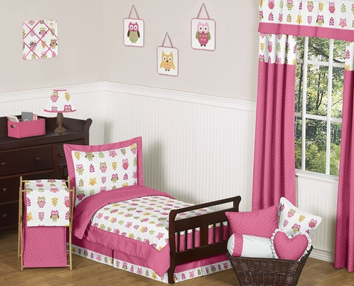 Pink Happy Owl Toddler Bedding - 5 pc Set by Sweet Jojo Designs - Click to enlarge